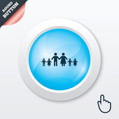Complete large family with many children sign. — Vector de stock