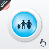 Complete family with one child sign icon. — Vettoriale Stock