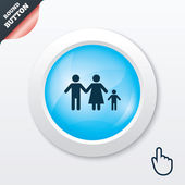 Complete family with one child sign icon. — Vector de stock