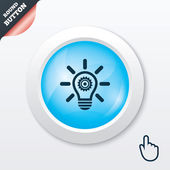 Light lamp sign icon. Bulb with gear symbol. — Stock Vector