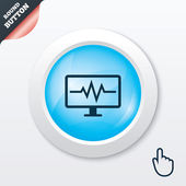 Cardiogram monitoring sign icon. Heart beats. — Vetorial Stock