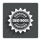 ISO 9001 certified sign. Certification stamp. — Stock Vector