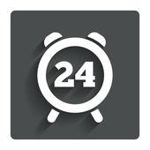 24 uur tijd teken pictogram. klok alarm symbool. — Stockvector