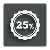 25 percent discount sign icon. Sale symbol. — Stock Vector