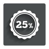 25 percent discount sign icon. Sale symbol. — Stock vektor