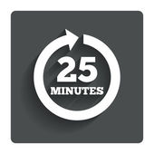 Every 25 minutes sign icon. Full rotation arrow. — Stockvector