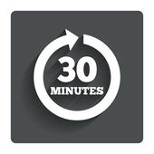Every 30 minutes sign icon. Full rotation arrow. — Stockvector