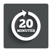 Every 20 minutes sign icon. Full rotation arrow. — Stockvector