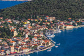 Helicopter aerial shoot of Rogoznica, a small Croatian town - a tourist destination. — Stock Photo