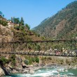 Iron bridge in Rudraprayag — Stock Photo