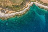 Aerial view of footpath trough macchia — Stock Photo