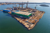 Pula panorama with old shipyard — Stock Photo