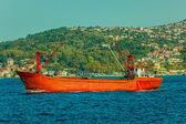 Červená rybářský člun — Stock fotografie