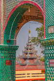 Inscriptions and mosaic decoration, Mandalay Hill — Stock Photo