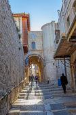 Wąskiej uliczce starego miasta w jerozolimie — Zdjęcie stockowe