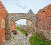 Chapel and walls on Medvedgrad castle — Stock Photo