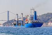 Transport ship sails Bosphorus — Stock Photo