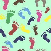 Seamless texture of colored traces of feet — Stock Vector