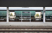 Railway station with freight wagons and rails — Stock Photo
