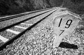 Järnvägar konkreta skylten — Stockfoto