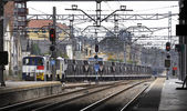 Railway station with freight train — Stock fotografie