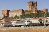 Freigh train with castle landscape — Stock Photo