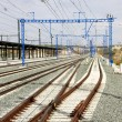 Stock Photo: Railway with electric posts
