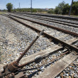 Stok fotoğraf: Manual system of change of rails at old railway station