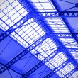 Industrial ceiling of a railway station — Stock Photo