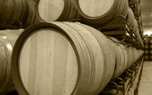 Wine barrels in an aging cellar — Stock Photo