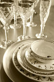 Plates and glasses — Stock Photo
