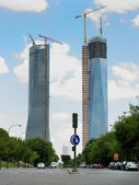 Skyscrapers and construction site in Madrid — Stock Photo