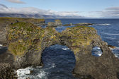 Iceland. Snaefellnes Peninsula. Basaltic rocks and North Atlanti — Stock Photo
