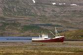 Iceland. Latrabjarg Peninsula. Abandoned Gardar vessel and mount — Stock Photo