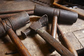 Antique tools. Hammers with wood pieces. — Stock Photo
