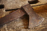 Antique tools. Axe with wood pieces. — Stockfoto
