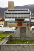 Iceland. Isafjordur modern church and cemetery. — Stock Photo