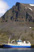 Iceland. Bolungarvik. Harbor with fisihing boat and mountains. — Stock Photo