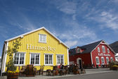 Restaurants in the harbor. Iceland. Siglufjordur. — Stock Photo