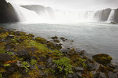 Iceland. Godafoss waterfall. Bardardalur field of lava. — Stock Photo