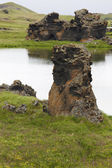 Iceland. Myvatn. Lake and lava formations. — Stock Photo