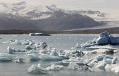 Iceland. Southeast area. Jokulsarlon. Icebergs, lake and glacier — Foto de Stock