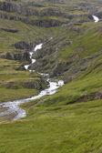 Iceland. East fjords. Landscape with river and mountains. — Stock Photo