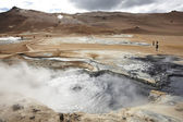 Iceland. Krafla. Active volcanic zone. Geothermical vents. — Stock Photo