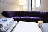 Interior casa con libros y sofá — Foto de Stock