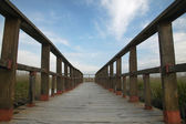 Footbridge walkway. Wetland landscape. Tablas de Daimiel. Ciudad — Stock Photo