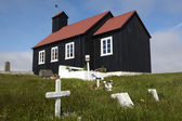 Iceland. Reykjanes Peninsula. Utskalar church and cemetery. — Stock Photo