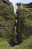 Iceland. South area. Eyjafjalajokul zone. Waterfall nearby Selja — Stock Photo