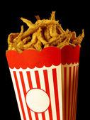 Cardboard Box with fried fish instead pop corn — Stock Photo