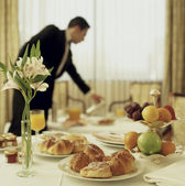 Room service continental breakfast — Stock Photo